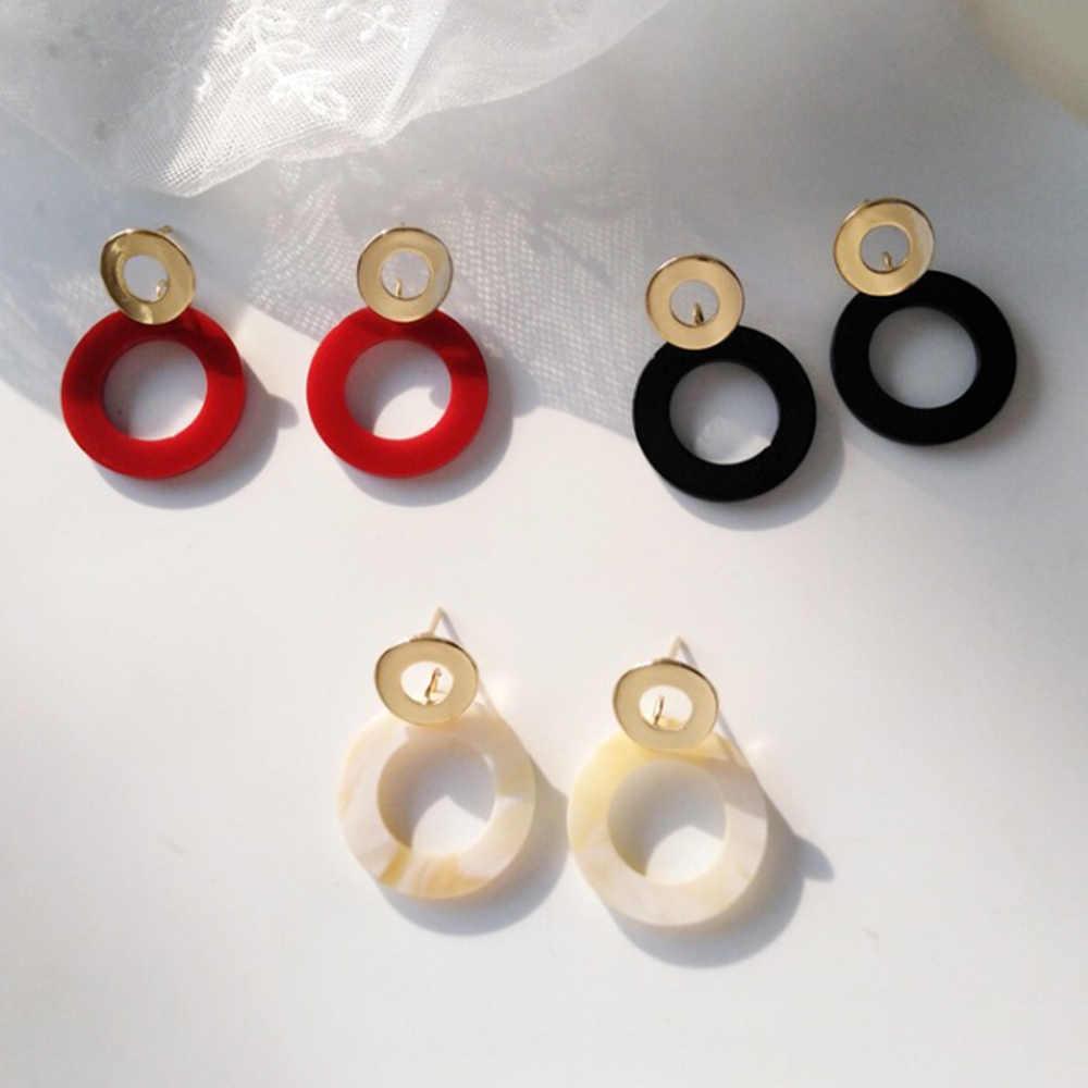 Chadestinty Gold Color Geometric Round Drop Earrings For Women White Red Earring Resin Jewelry Wedding Black Earings oorbellen