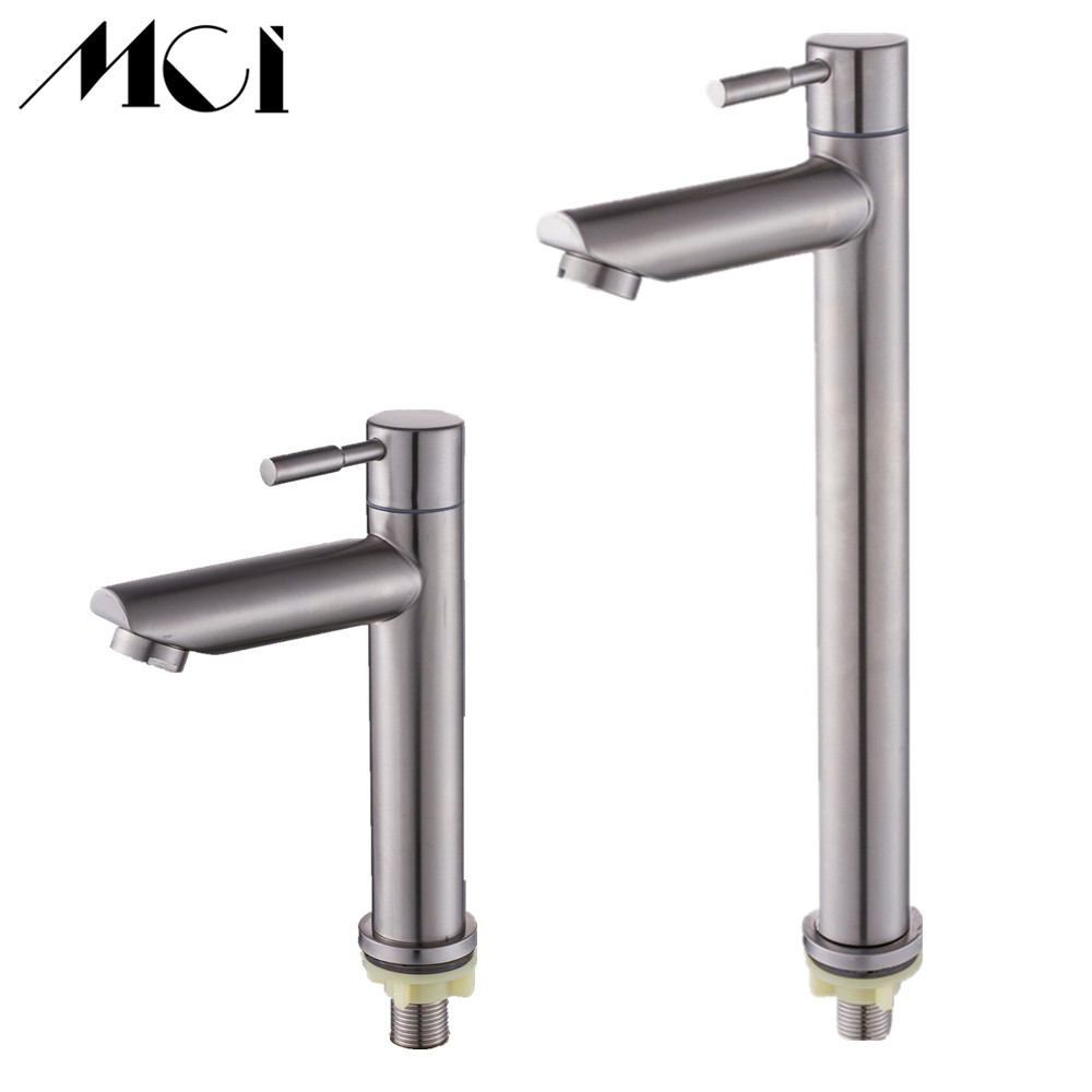 304 Stainless Steel Deck Mounted Sink Basin faucet Rust And Corrosion Resistance Bathroom Kitchen Single Cold Water Faucet Mci-in Basin Faucets from Home Improvement