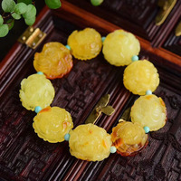 Fine JoursNeige Yellow Natural Stone Bracelets Flower Beads and blue Beads Bracelets for Women Girl Single lap Fashion Jewelry