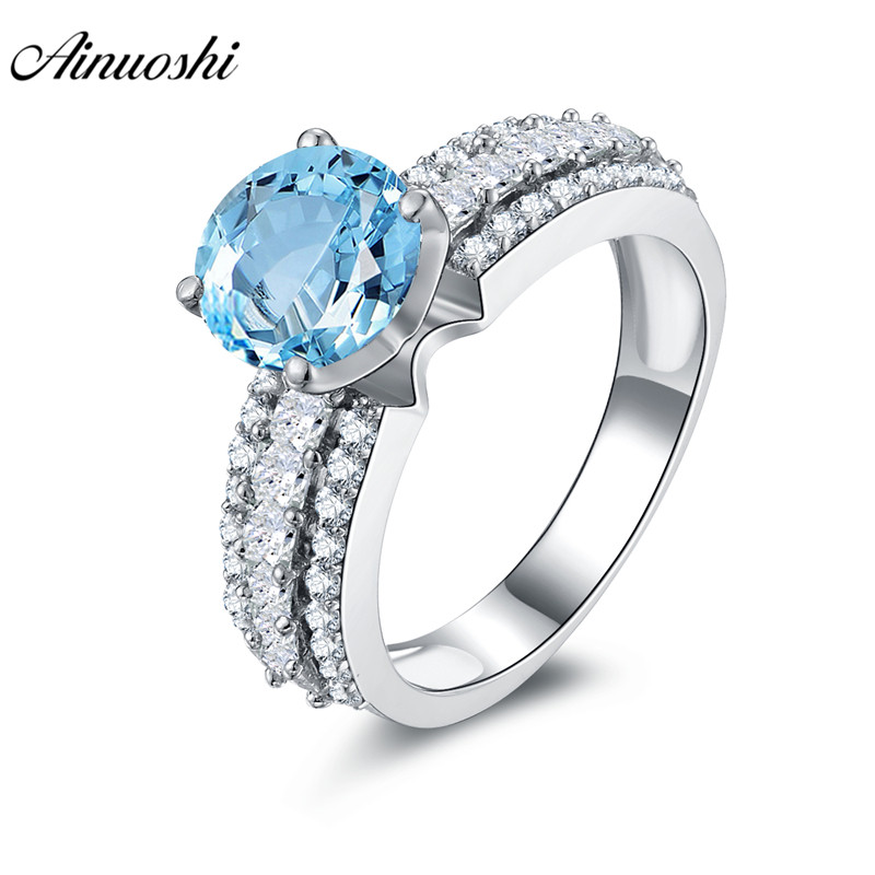 AINUOSHI Natural Blue Topaz Ring SONA Diamond Pure 925 Sterling Silver Ring Jewelry 2ct Round Cut Women Engagement Wedding Ring luxury jewelry round cut sona diamond engagement ring in sterling silver