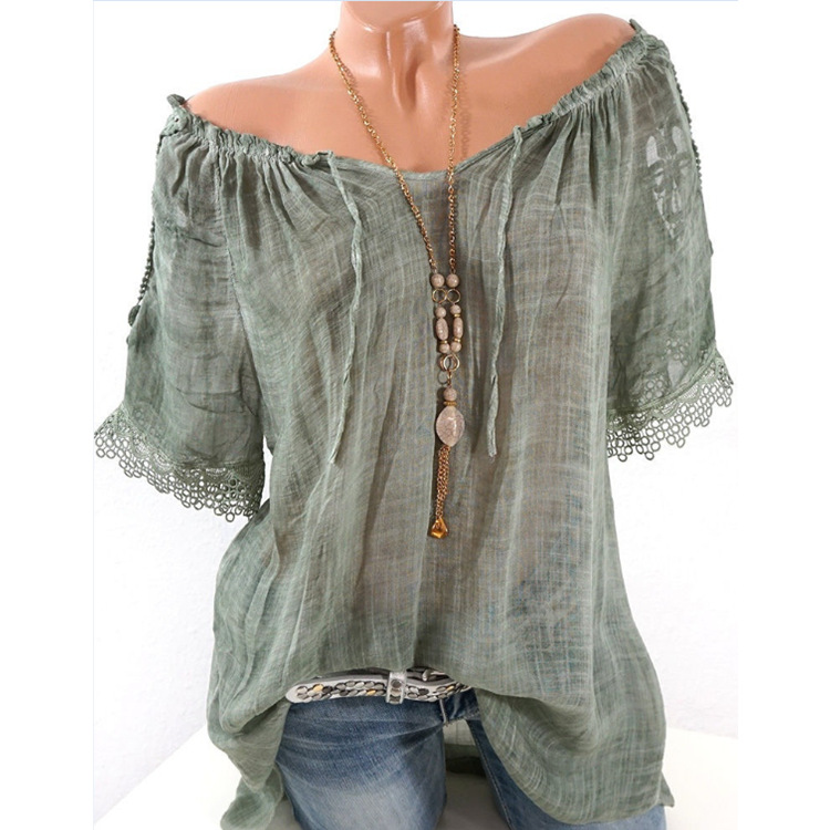 Summer Women Blouse Lace Up Shirt Short Sleeve Off Shoulder Tops Slash Neck Loose Casual Basic Plus size 5xl Blouses Shirts 2018