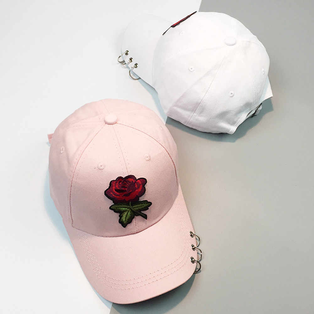 Women Baseball caps Summer flower girl Rose Snapback Hip Hop Flat Hat female cotton blend casquette Gorras Casual Cap embroider