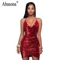 Abasona Women Sequins Dress Evening Party Wear Women Dresses Summer Sexy Club Spaghetti Strap Bodycon Bandage