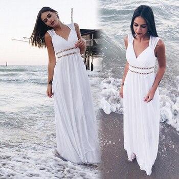 Ever Pretty Cheap Chiffon Wedding Dress Elegant A Line V Neck Flare Sleeve Long Beach Bridal Gown 2019 Robe De Mariee EP09890WH 5