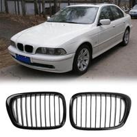 VODOOL 2pcs Front Sport Hood Kidney Grille Grilles For BMW E39 97 03 Gloss Black High