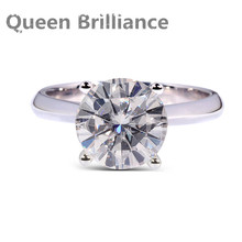 Queen Brilliance 2ctw Lab Grown Moissanite Diamond Engagement Wedding Ring For Women 14K 585 White Gold Fine Jewelry Rings