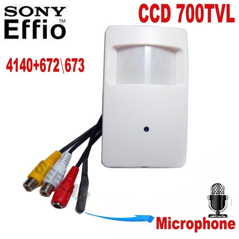 ФОТО Motion Detector PIR STYLE CCTV Camera 960H 700TVL Effio-e 3.7mm CCTV Mini Security Camera Security Camera External microphone