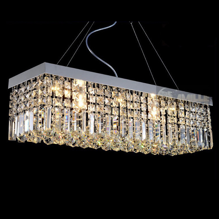 modern contemporary rectangle rain drop crystal chandelier for dining room suspension lamp lighting fixture - Dining Room Crystal Lighting