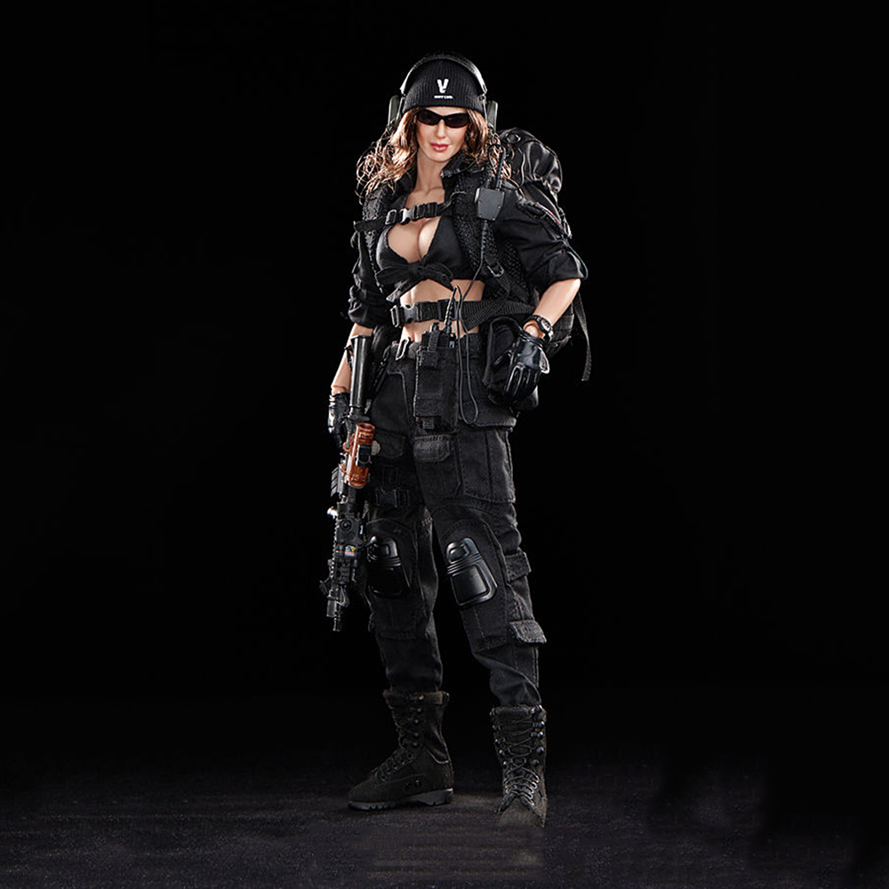 1/6 Scale Black Female Shooter Action Figure Black Version Toys For Children Hobby Gifts Collections Body Head Clothes Accessory 1 6 scale resident evil 6 leon scott kennedy full set action figure for collections
