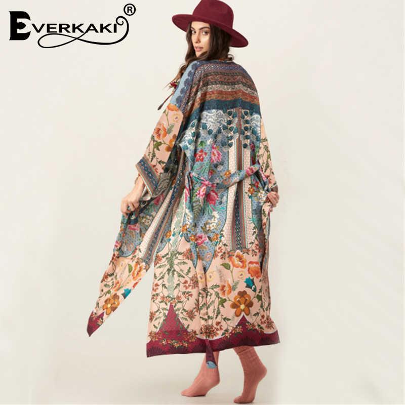 Everkaki Kimono Vintage Rời In Hoa Mở Nữ Thời Trang Đồ Ngủ Áo Bohemian Tất Thắt Lưng Tay Dài Sexy Kimono