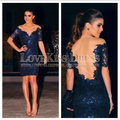 Short Cocktail Dress Sexy Vestidos De Fiesta V Neck Short Sleeve Navy Blue Lace Sheath Short Cocktail Dress 2017 DYQ1145