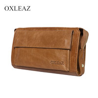 OXLEAZ Large Capacity Luxury Handbags Women Bags Designer Oil Wax Leather Men Clutch Bags Man Wallet Leather Genuine Phone Bag