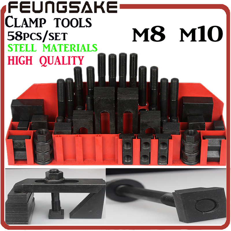 Highquality hardness steel quality Metex milling machine clamping set m8 m10 58pcs mill clamp kit vice ship by DHL,clamping tool цена и фото