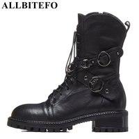 ALLBITEFO/Брендовые женские ботильоны из натуральной кожи, осенне-зимние кожаные ботинки средней высоты, женские мотоциклетные ботинки