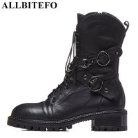 ALLBITEFO brand natural genuine leather women ankle boots shoes Autumn Winter Medium height leather boots girls motorcycle boots