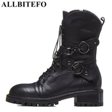 ALLBITEFO brand natural genuine leather women ankle boots shoes Autumn Winter Medium height girls motorcycle