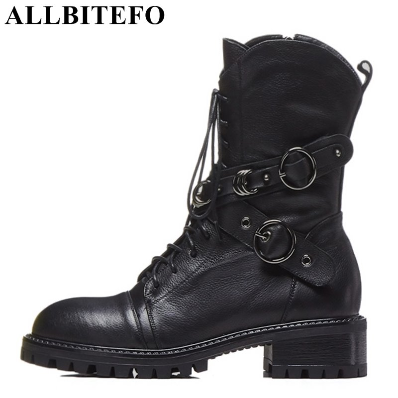 ALLBITEFO brand natural genuine leather women ankle boots shoes Autumn Winter Medium height martin boots girls motorcycle boots allbitefo natural genuine leather snake texture cow leather women ankle boots fashion sexy motorcycle boots girls winter shoes