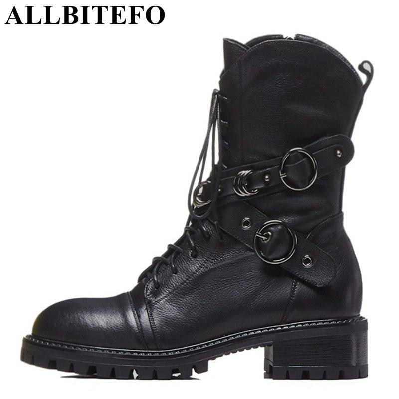 Bottes Moto Véritable Femmes Noir Hauteur Cuir Marque Moyen Bottines Allbitefo Filles Automne Naturel Chaussures En Hiver qxX7wf6