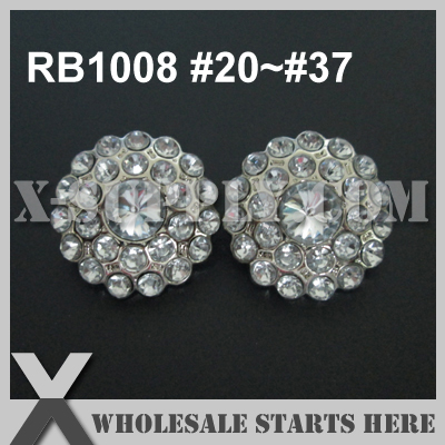 Color Option: RB1008 #20~#37 / Plastic Acrylic Rhinestone Button for Clothing,Flower Center/Silver Base/Bulk Wholesale