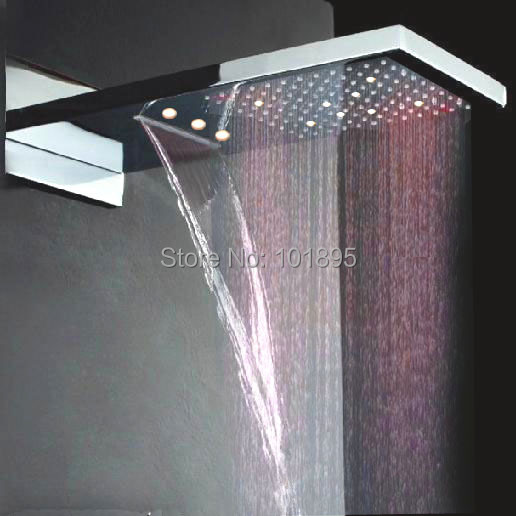 Free Shipping X15483 Reliable Performance 230 X 554mmstainless Steel New Led Bathroom Shower Head Candid Retail Color Changed Without Battery
