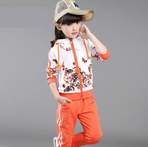 все цены на 4 6 8 12 Year Baby Girls Clothes Sets Spring Children Clothing Girls Sports Suits Kids Long-sleeved Coat+Pants 2PCS Tracksuit