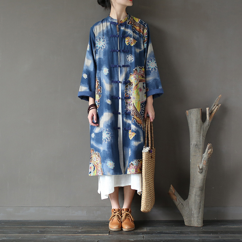 Chinese style Blue Print Long   Trench   Coat Women Vintage Autumn Fashion Coats Loose Casual Brand Design Coat Manteau Femme A137