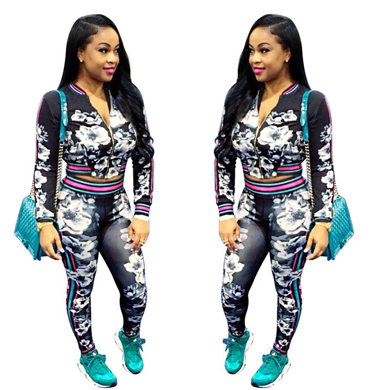 2017 fashion spring floral 2 piece set women tracksuit
