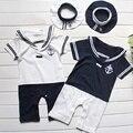 Baby Sailor Rompers Navy Collar Short Sleeve Romper Hat 2PCS Set Baby Boy Summer Clothing Roupa De Bebe Menino
