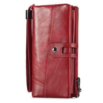 5d20d96a6 Rojo Cartera de mujer de cuero de vaca monedero señora útil bolsa mujer  bolsos de embrague