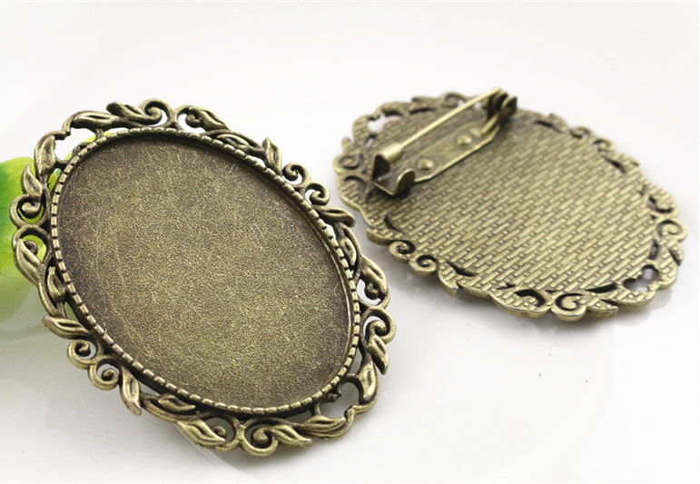 New Fashion  2pcs 30x40mm Inner Size Antique Bronze Pin Brooch Pierced Style Base Setting Pendant (B1-17)