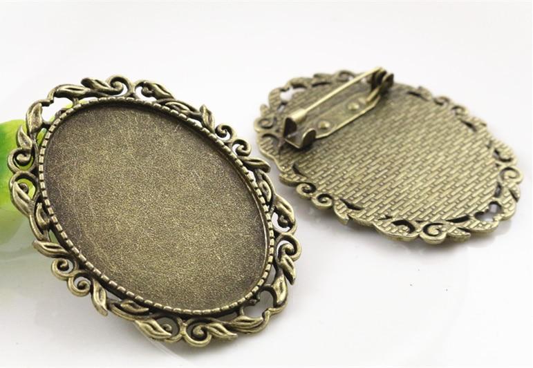 New Fashion  2pcs 30x40mm Inner Size Antique Bronze Pin Brooch Pierced Style Base Setting Pendant (B1-17)