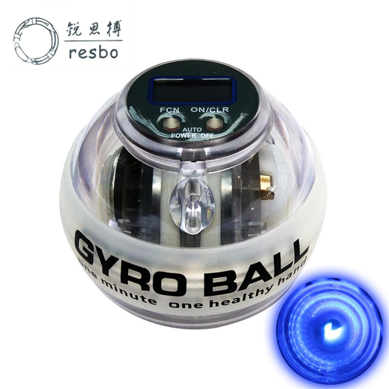 RESBO LED Power Wrist Ball Auto Gyroscope Auto start Forearm Hand Arm Spinner Gyro Ball Force Ball for Muscle Relax Beginner Q resbo autostart fitness wrist ball powerball gyroscope