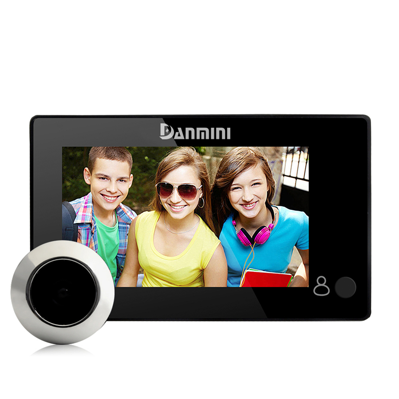 DANMINI 4.3 Inch Digital Peephole Viewer Door Eye Doorbell Wired Home Video Doorbell 145Degrees Security Camera Built-in Battery