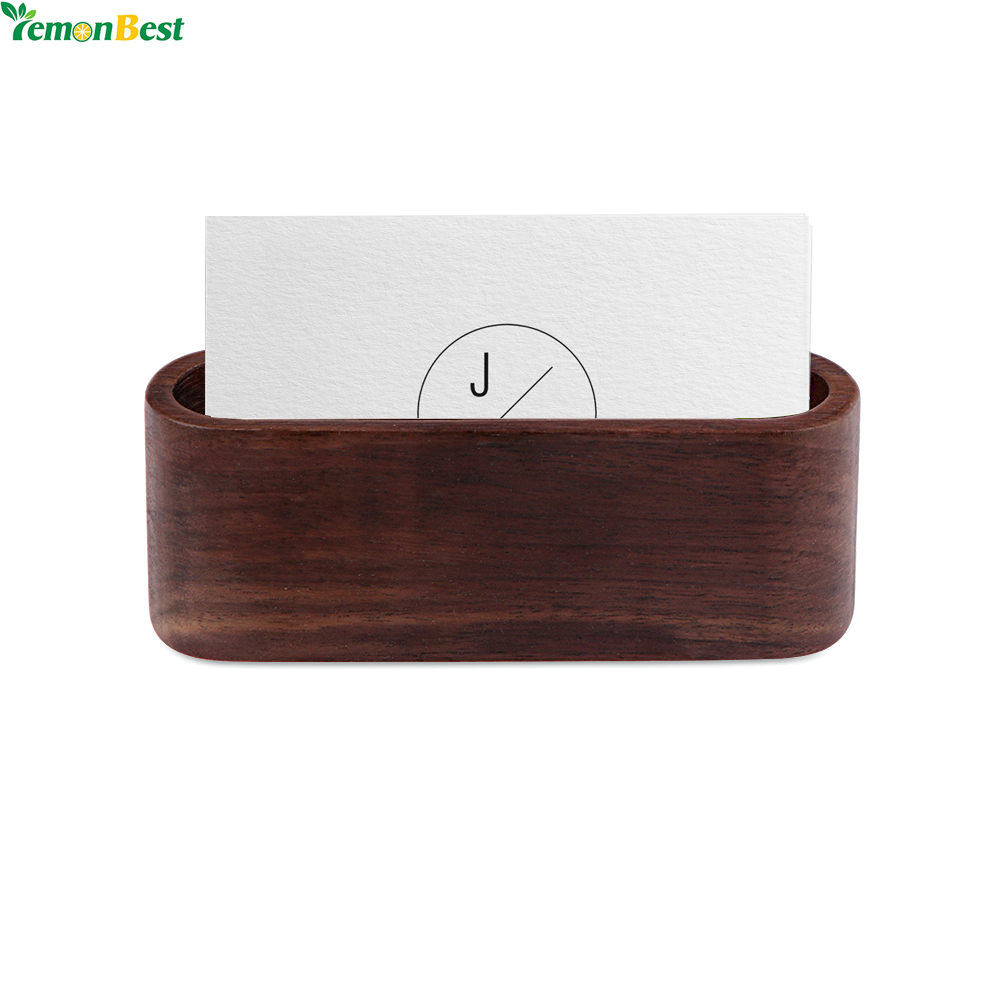 1pcs Wood Business Card Holder Singlepartment Name Card Display Stand  Shelf For Desk Desktop Countertop