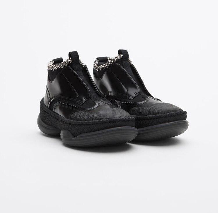 as Show Femme forme Cuir Sport Piste Tissu Sneakers Patchwork Bottines Show De En Haute Décor Chaînes Femmes Stretch Printemps Plate Chaussures As qvR16wx6