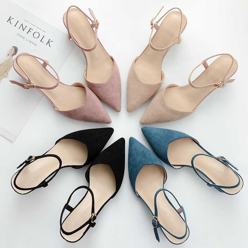 2019 Yeni Yüksek Topuklu Bahar Yaz Ayakkabı Kadın Pompaları Kadın Rahat Dar Sandalet Ayak Bileği Sapanlar Kare Seksi Düğün parti ayakkabıları