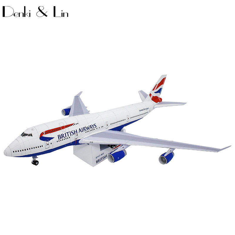 British Airways Boeing747-400 Paper Model 49cm x 45 cm 1:144 Scale 3D DIY Education Toys