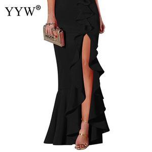 Image 3 - 섹시한 V 넥 프릴 여성 이브닝 드레스 2020 여름 스파게티 스트랩 긴 파티 드레스 사이드 슬릿 불규칙한 우아한 공식 드레스