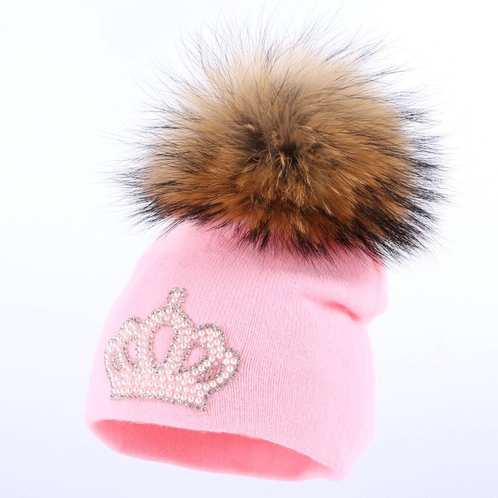 0 para 3 ano de idade do bebê de malha chapéu do inverno cap menina menino  crianças algodão fúcsia pompom de pele de vison crianças coroa gorros  skullies ... 460869c1c6d