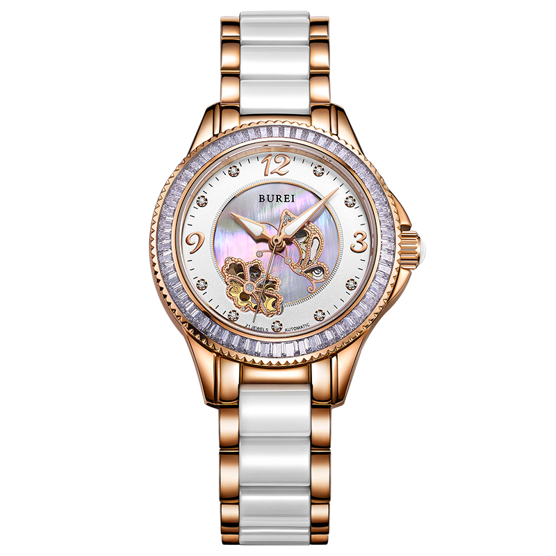 BUREI 15022 Switzerland watch women luxury brand J12 series skeleton automatic self-wind diamond Ceramic golden relogio femininoBUREI 15022 Switzerland watch women luxury brand J12 series skeleton automatic self-wind diamond Ceramic golden relogio feminino