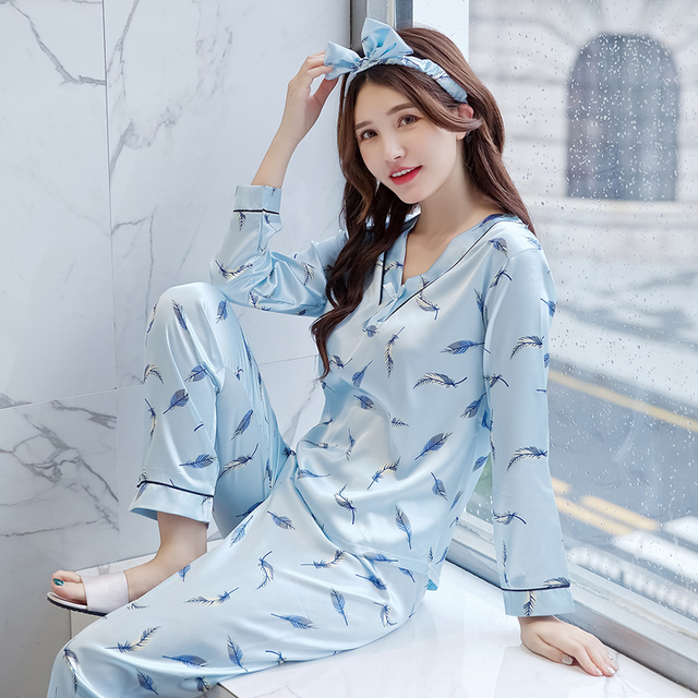 10a32ca1b8db 2018 autumn Women Ladies Sexy Satin Silk Pajamas Sets Long Sleeve Tops+pants  Sleepwear Nightwear pyjama femme free shipping