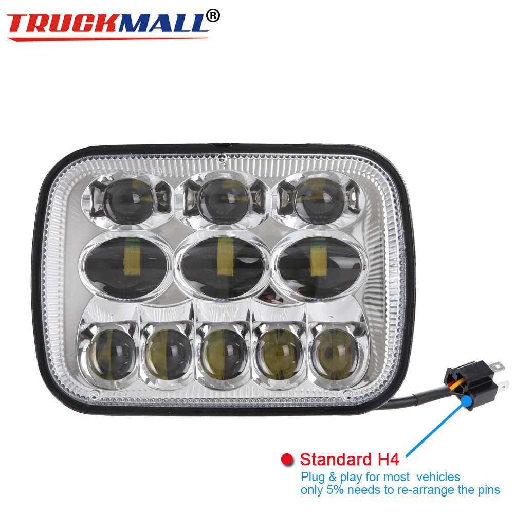 H4 Plug&Play 7X6 LED Headlight Sealed Beam for Jeep Cherokee XJ Trucks 5x7LED Headlight Hi/Lo Beam For Toyota PickupH4 Plug&Play 7X6 LED Headlight Sealed Beam for Jeep Cherokee XJ Trucks 5x7LED Headlight Hi/Lo Beam For Toyota Pickup