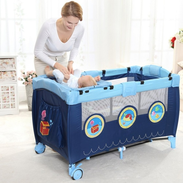 Sweeby Newborn game Crib bed Multifunctional safe and comfort game bed with Diaper storage bag For baby Sleeping and Activities