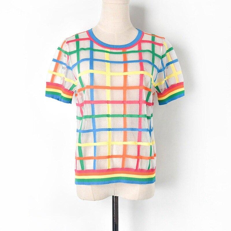 2019 été arc-en-ciel Plaid tricoté chemise voir si Sexy femmes pull t-shirt mince Cool haut pour femme t-shirts transparents