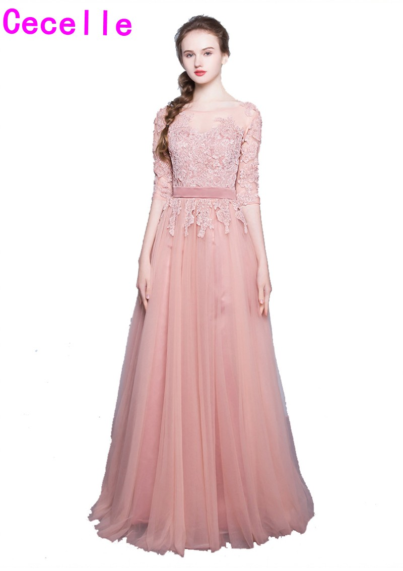 2017 Blushing Pink Long Prom Dresses With Sleeves Lace Appliques Tulle Floor Length Formal Evening Prom Gowns Custom Made