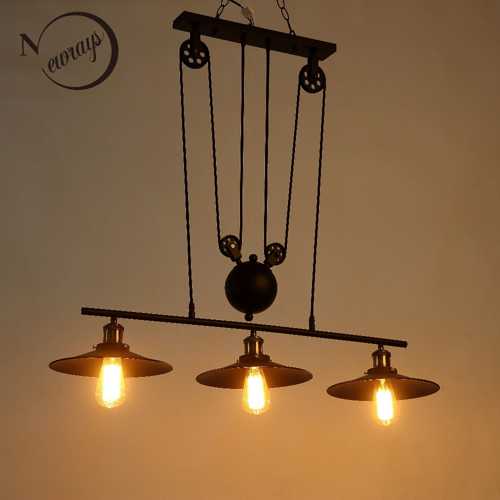 New Loft America Pulley Lifting Pendant Lights Creative Industrial Vintage lighting for Dining Room/bar/restaurant Kitchen /cafe new loft vintage iron pendant light industrial lighting glass guard design bar cafe restaurant cage pendant lamp hanging lights