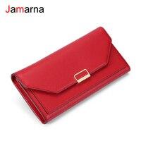 Jamarna mulheres carteiras bolsa vermelho longo carteira design da marca de alta qualidade couro do plutônio titular do cartão moeda carteira feminina vermelho