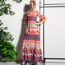 Женское длинное платье с цветочным принтом красное повседневное
