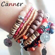 CANNER Multicolor Bohemian Bracelet Beads/Beaded Boho Femme/Women Layered Bracelets 2019 Natural Stone CharmFI