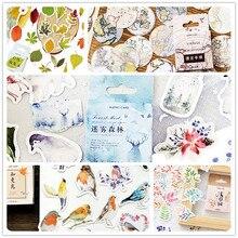 46pcs/pack Kawaii Cute Cartoon Paper Decorative Stickers DIY Adhesive Scrapbooking School Supply 12 Styles Can Choose